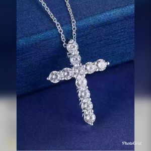silver necklace women Cross CZ crystal Zircon